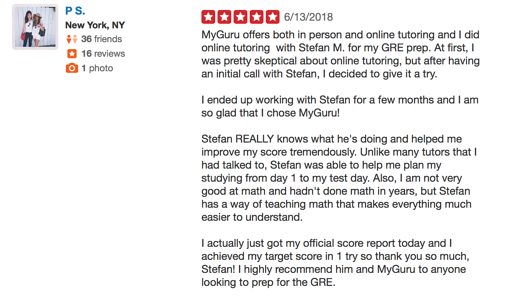 A review about online vs. in-person GRE tutoring.