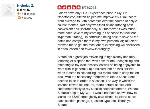 Yelp online LSAT Review August 2018