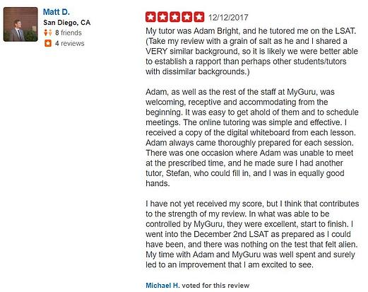 Yelp online LSAT Review Bright